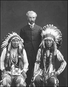 Nez Perces Chiefs Joseph & Red Thunder, pose with Edmund S. Meany, Washington, ca. 1903.
