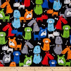 Kanvas Dog-Gonnit! Doggitude Black from @fabricdotcom  Designed by Greta Lynn for Kanvas in association with Benartex, this cotton print is perfect for quilting, apparel and home decor accents. Colors include black, red, orange, royal blue, grey, gold, light blue and shades of green.