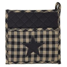 Black Star Pot Holder with Pocket