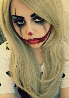 This Sad Clown make up look screams Halloween!