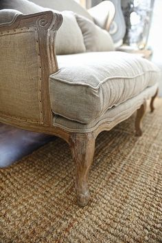 Farmhouse settee - burlap and natural fiber sofa perfect for a farmhouse living room. click to get the source.