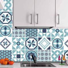 Azulejos autocolantes geométricos turquesa (Pack de 30)