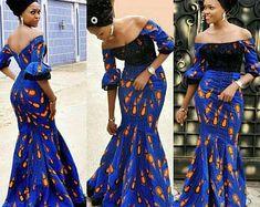 Bleu impression robe africaine africaine vêtements robe africaine pour femmes africaine africaine robe mi-longue robe africaine Ankara robe imprimée robe/Ankara