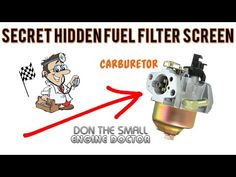Hidden Carburetor Fuel Filter Screen On Small Engines! Must see! - Video - YouTube Lawn Mower Maintenance, Lawn Mower Repair, Things To Know, Cool Things To Buy, Chainsaw Repair, Kohler Engines, Engine Repair, Outboard Motors, Small Engine