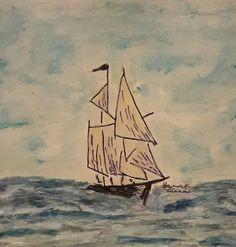 Vitorlás  tengeren. Tűfilc, akvarell.
