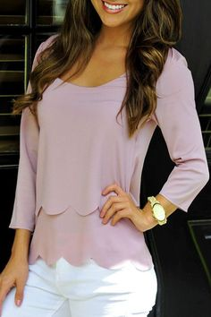 Layered Open Back Wavy Cut Chiffon Blouse