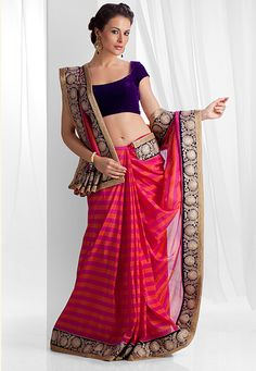 Handloom saree weaved in crape silk with velvet border attached embellished with zari and lace. Blouse as seen is optional