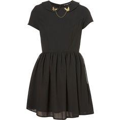 Petite Bird Chain Flippy Dress ($80) ❤ liked on Polyvore