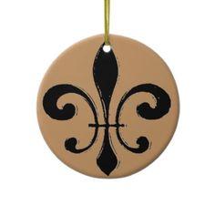 Black Washout Fleur De Lis Christmas Ornament #whodat #saints #nola