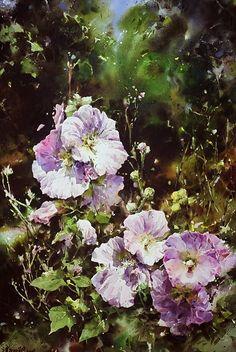 watercolor by Xie Ming CHANG (b. 1955, Taiwan) 朝陽 76×51cm 2008