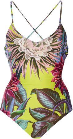 Mara Hoffman Cactus Lace-Up Back One-Piece Swimsuit