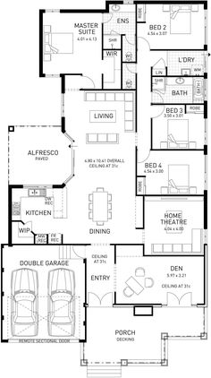 Floor Plan Of Modern House island Hampton Single Storey Floor Plan Wa Single Floor House Design, Modern House Floor Plans, Sims House Plans, Dream House Plans, Container House Plans, Container House Design, Container Homes, 4 Bedroom House Plans, Monster House