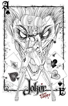 Joker And Harley Quinn Coloring Pages Adult Coloring Book Pages, Printable Adult Coloring Pages, Coloring Pages To Print, Colouring Pages, Coloring Books, Joker Drawings, Superhero Coloring, Arte Obscura, Joker Art