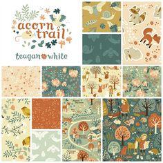 Acorn Trail Fat Quarter Bundle + Panel - Birch Organic Fabric - Teagan White