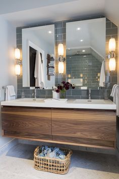 Master Ensuite with Floating Walnut Vanity Bath Transitional by Gillian Gillies Interiors Inc Luxury Bathroom Vanities, Luxury Master Bathrooms, Bathroom Design Luxury, Modern Bathroom Design, Modern Design, Large Bathrooms, Interior Design Inspiration, Bathroom Inspiration, Bathroom Ideas
