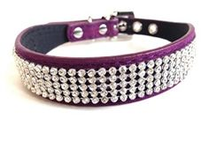 Eggplant Velvet & Crystal Collar - Collars, Leads & Harnesses - Collar… Fancy Dog Collars, Eggplant, Velvet, Boutique, Crystals, Bracelets, Jewelry, Fashion, Belle