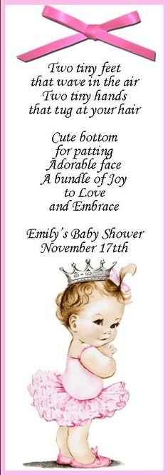 Vintage She's A Princess personalized bookmark baby shower favor.