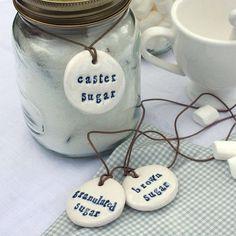 Set Of Three Porcelain Sugar Storage Labels by Corn-Kist Ceramics Polymer Clay Crafts, Diy Clay, Sugar Storage, Flour Storage, Kilner Jars, Mason Jars, Biscuit, Jar Labels, Spice Labels