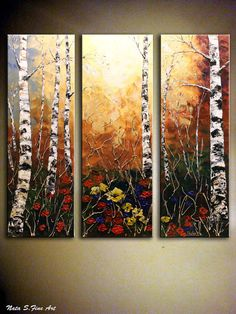 "Landscape Painting.Abstract Painting.Heavy Textured.Palette Knife.Triptych.Birch Trees Painting.Birch Forest.Fall.Autumn.36""    - by Nata S."