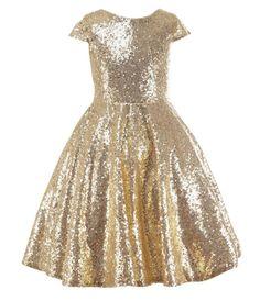 Champagne Sequin Junior Bridesmaid Dress / Sequin Birthday Dress Girls / Baby Sequin Dress Wedding