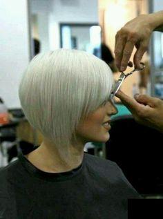 Cute short bleach blonde bob