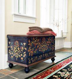 Decorative Ideas For Firewood Storage - Places in the Home hand painted folk art trunk Art Furniture, Hand Painted Furniture, Furniture Makeover, Chest Furniture, Furniture Movers, Painting Furniture, Furniture Stores, Wooden Furniture, Antique Furniture