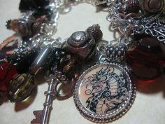 Art: DRAGON Altered Art Charm Bracelet One of a kind by Artist Lisa  Wiktorek
