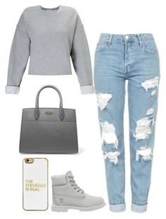 """""""Untitled #548"""" by kylie100 ❤ liked on Polyvore featuring Miss Selfridge, BaubleBar, Timberland, Topshop and Prada"""