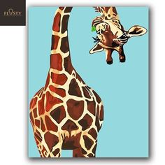 Canvas wall decor - Paint By Numbers Giraffe Winding Its Neck 1 – Canvas wall decor Giraffe Painting, Giraffe Art, Cute Giraffe, Diy Painting, Giraffes, Canvas Wall Decor, Diy Canvas, Canvas Art, Water Based Acrylic Paint