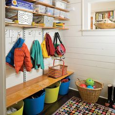 Mud room shelving and storage