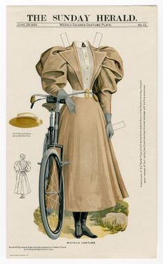 A Bicycle Costume for decent women, 1895 (complete with straw hat, because if you kept to a ladylike pace on a nicely paved boulevard, you'd have no need of goggles. Belle Epoque, Art Origami, Vintage Paper Dolls, Online Collections, Paper Toys, Victorian Fashion, Victorian Toys, Historical Clothing, Fashion Plates
