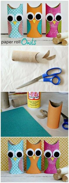 Toilet Paper Roll Crafts - Get creative! These toilet paper roll crafts are a great way to reuse these often forgotten paper products. You can use toilet paper rolls for anything! creative DIY toilet paper roll crafts are fun and easy to make. Kids Crafts, Owl Crafts, Cute Crafts, Toddler Crafts, Projects For Kids, Easy Crafts, Craft Projects, Easy Diy, Horse Crafts