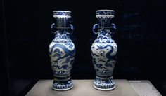 The David Vases (centered)  The David Vases, 1351 (Yuan dynasty), porcelain, cobalt and clear glaze, 63.6 x 20.7 cm each, Jingdezhen, Jiangxi province, China (British Museum)