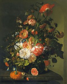 Rachel Ruysch was a Dutch artist who specialized in still-life paintings of flowers, one of only three known women artists in Dutch Golden Age painting, of whom Maria van Oosterwijk was also a flower painter, and Judith Leyster mainly not. Toledo Museum Of Art, Dutch Still Life, Still Life Flowers, Dutch Golden Age, Dutch Painters, Old Paintings, Floral Paintings, Dutch Artists, Vanitas