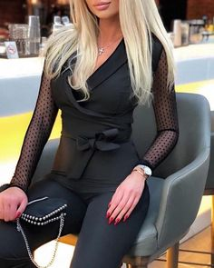 Shop Solid Lantern Sleeve Mock Neck Jumpsuits right now, get great deals at cbrstyle Cosplay Outfits, Sexy Outfits, Minimal Outfit, Beautiful Blonde Girl, Sexy Blouse, Blonde Beauty, Beauty Women, Fashion Models, Sexy Women