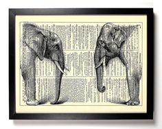 African And Asian Elephant Home Kitchen Nursery Office Asian Elephant, Elephant Art, Elephant Sketch, Book Art, Water For Elephants, Newspaper Art, Art Activities For Kids, African Art, African Culture