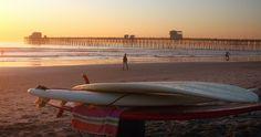 Sunset and Surfboards in Oceanside #California #Beach Sun Sand & Surf