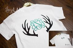 Antler Monogram Tee on Etsy, this is a very good design and i can print it in different place