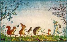 vintage fairies+folletti+fate+animali+bosco+midsummer Eve
