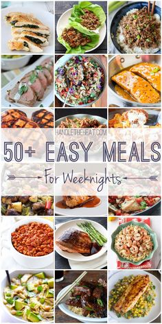 50 Easy Meal Recipes for Fresh Weeknight Cooking ~ including quick weeknight recipes, slow cooker recipes, and one-pot recipes to help feed your family delicious food.