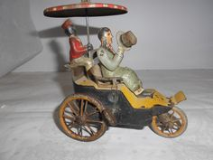 #toys #vintagetoys LEHMANN 1903 German Tin Toy New Century Cycle Wind Up - Umbrella Turns Hat Rises
