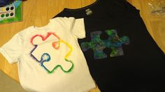 use both parts of the stencil, twice the diy shirts. Autism Awareness!