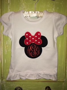 A personal favorite from my Etsy shop https://www.etsy.com/listing/267878696/minnie-ruffle-shirt-with-name-or
