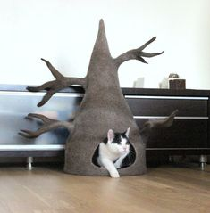Cat house  cat bed / cave from natural wool  wool cat by AgnesFelt
