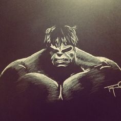 """Charcoal Drawing Design """"The Hulk"""" - white charcoal on black paper. Charcoal Art, Charcoal Drawings, White Charcoal, Sketchbook Drawings, Art Drawings, Sketches, Black Paper Drawing, Black And White Drawing, White Pencil"""