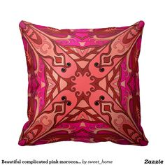 Beautiful complicated pink moroccan ornament. throw pillow  Moroccan ornament make interior unique and add aesthetics sense. Ornament create in oriental tradition. #Home #decor #Room #accessories #Interior #decorating #Idea #Styles #abstract