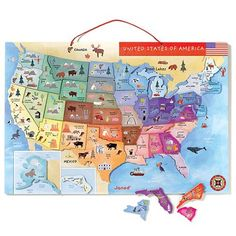 Magnetic Map Of The United States Uh5632 26 95 This Colorful Wood And Vinyl Magnetic Puzzle