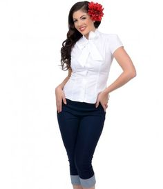 The perfect white blouse for the office or play! #uniquevintage #pinup