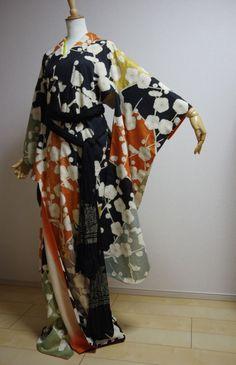 Kimono Dress Japan Furisode Geisha costume Vintage  Hanayome dress KDJM-F0039