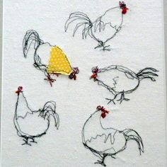 """Description """"A delightful flock (apparently!) of feathered friends, stitched freestyle on my sewing machine. A patch of polka dot fabric and red cotton detailing add a splash of colour."""""""